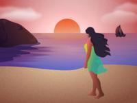 Beach illustration beauty tourism texture sunset sea corona sun beach wanderlust traval hero website ui vector minimal exploration art illustration color design