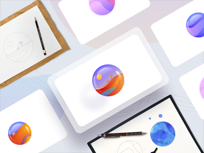 Crystal Ball - Illustration logo icon drawing sketch marbles crystal ball hero image homepage hero website ux ui vector minimal exploration art illustration color design