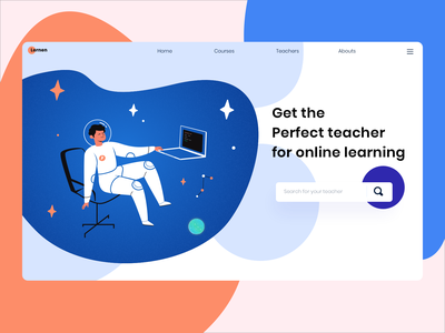 Lernen - Online learning search astronaut space concept stayhome gradient graphic clean learning hero website ux ui vector minimal exploration art illustration color design