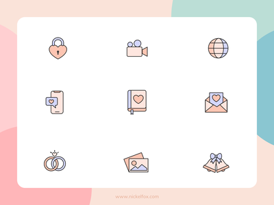 Icon set template email icons iconography cam lock app design iphone app hero website ux ui vector minimal exploration art illustration color design
