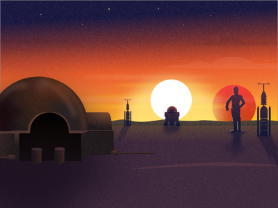 Tatooine sunset gradient robot planet space sun dribbble drawing tatooine starwars sketch website hero vector minimal exploration art illustration color design