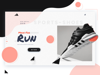Adidas - Shoes gradient clean minimalism simple store ecommerce drawing button logo shoes hero vector website ui minimal exploration art illustration color design