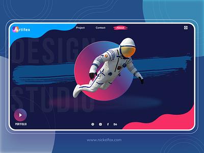 Artifex play dark ui ideas graphic gradient profile page drawing designer astronaut dailyui hero website ui vector minimal exploration art illustration color design
