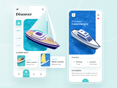 RentBoat App Exploration phone trending product services 3d dashboad typography yatch booking boat travel app design ux ui vector minimal exploration art illustration design