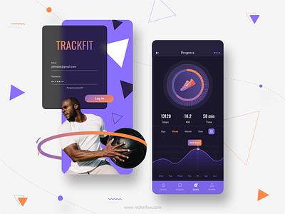 Trackfit - fitness tracking app concept workout ui design mobile app app fitness tracking gym fitness ux branding ui minimal exploration illustration color design