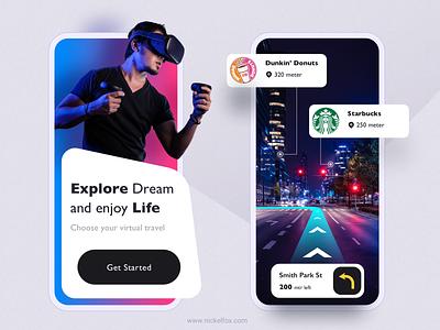 Virtual Ride- VR app ecommerce mockup website landing page clean travel gradient 3d virtual reality mobile app graphic design ux ui branding vector minimal art exploration color design