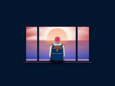 Thinking Cap peace window wanderlust travel backpack sun sea illustration stickermule cap sunset playoff