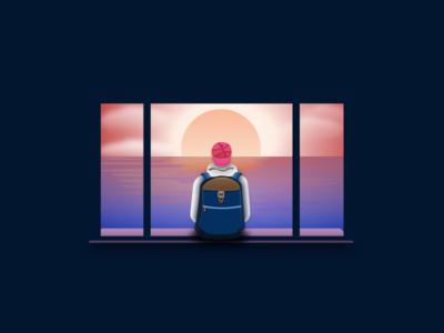 Thinking Cap peace window wanderlust travel backpack sun sea illustration stickermule cap sunset playoff