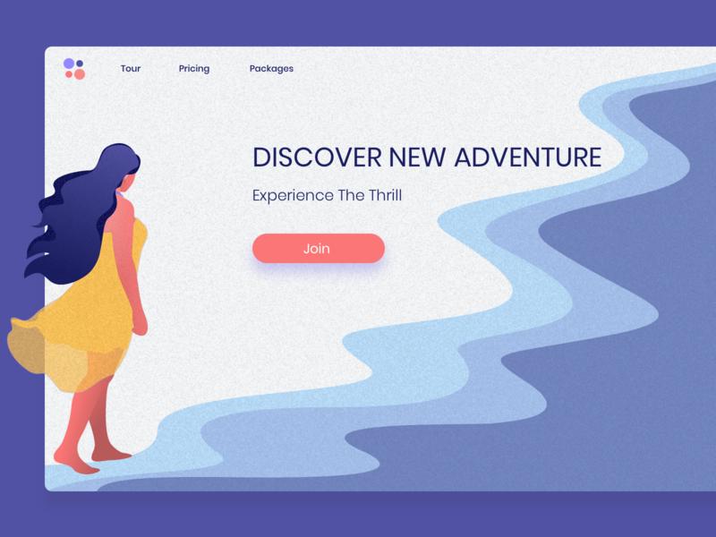 Travel Website hero header idea color uidesign ux ui minimal landing page travel wanderlust exploration webdesign website design illustration