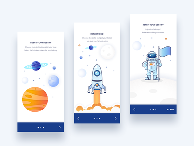 Travel App Onboarding screens ux ui astronaut planet space onboarding color exploration app design app android wanderlust travel icons design illustration
