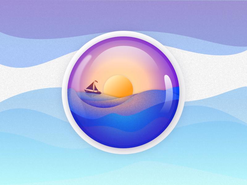 Ocean Crystall Ball travel hero web flat logo typography website art android vector minimal app ux ui app design icons exploration color design illustration