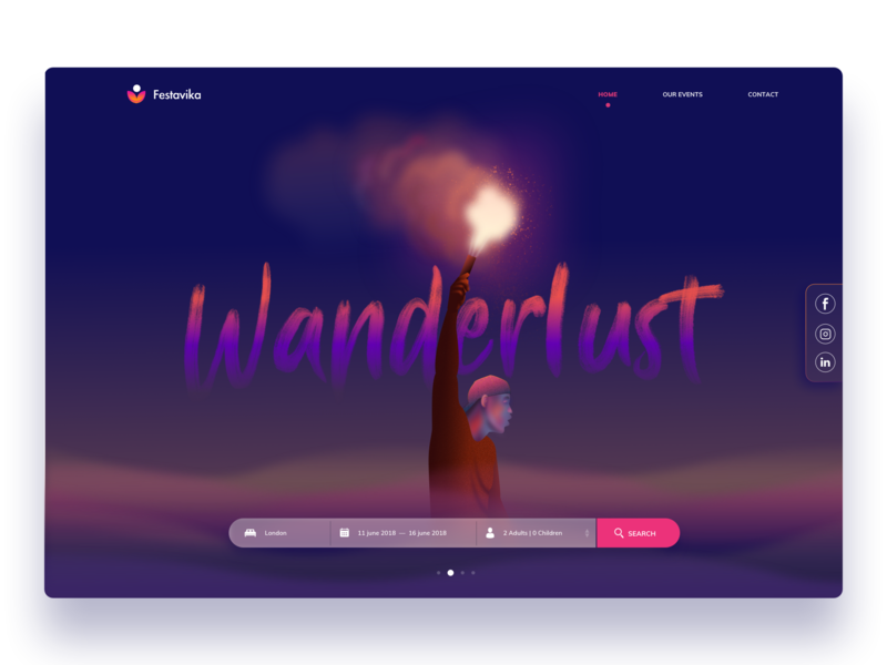 Festavika typography ios animation app art hero branding website ux ui icons wanderlust vector minimal travel color app design exploration design illustration