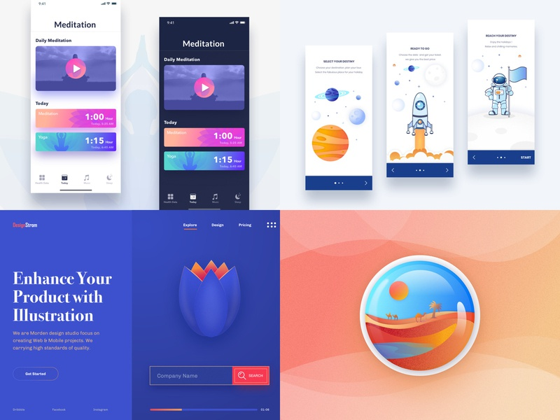 2018 astronaut app icons android website flat ux ui vector art branding logo wanderlust minimal travel app design color exploration design illustration