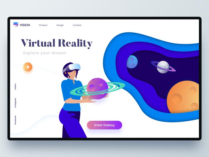 Virtual Reality header iphonex flat art minimal icons web logo branding hero website vector travel exploration ux ui color app design design illustration