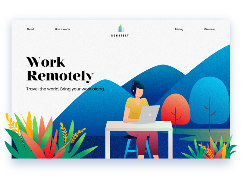 Remotely remote life webdesign remote work website flat branding app web wanderlust hero art vector travel minimal exploration ux ui color illustration design