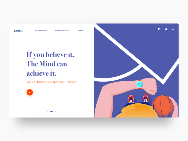 Kirol webpage workout basketball sports typography flat web hero website vector art minimal branding exploration app design ux ui color illustration design