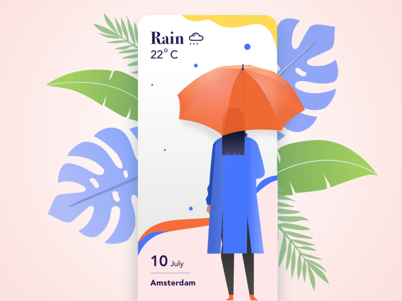 Weather Card exploration wanderlust rain travel app weather vector art minimal app design ux ui color illustration design