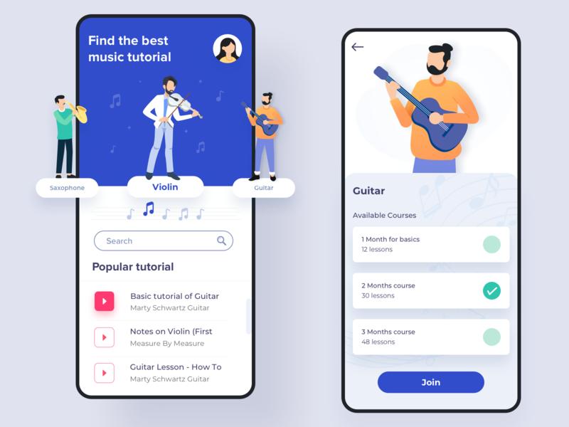 Music tutorial app [Sketch]💎 typography icon learning app mobile ios app music instrument tutorial music flat app vector art minimal exploration app design ux ui color illustration design
