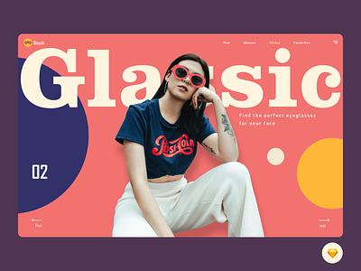 Glassic girl typogaphy landing page googles trend fashion eyeglasses eyewear header logo website hero minimal art app design ux exploration ui color design