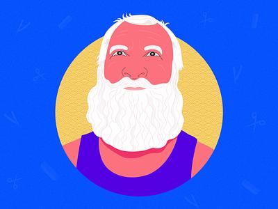 The Beard Guy barber old man sketchbook sketch lineart logo design guy man beard logo branding app hero vector minimal art exploration illustration color design