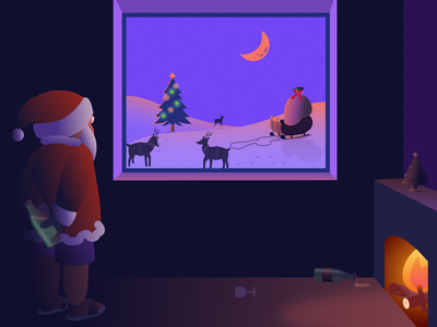 Santa might be late this year enjoy christmas enjoy christmas sketch cool santa merry christmas gifts window night snow drinks life christmas tree christmas santaclaus santa vector art illustration color design