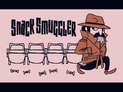 Snack Smuggler WIP secret agent cartoon mid-century modern trench coat candy popcorn concessions movie theater movies smuggler