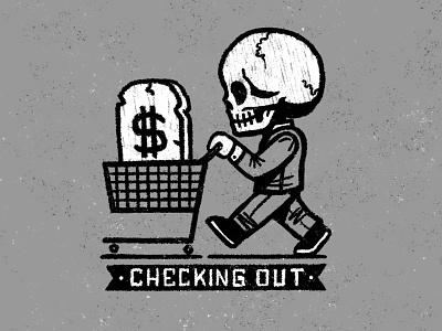 Checking Out procreate dapper shopper check out cart shopping cart skull