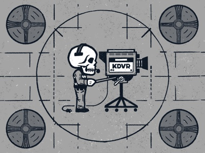 Dead air technical difficulties test pattern cadaver cable news camera retro television tv skeleton skull dead air