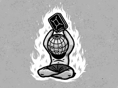 Immolation Nation climate policy suicide extinction global warming earth globe gasoline gas can gas wildfire forest fire fire climate change