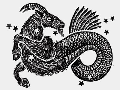 Capricorn dry brush procreate drawing chimera fish mermaid goat prediction fortune new age astrology horoscope constellation sign zodiac capricorn