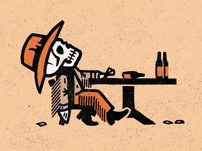 Dead Man's Hand western frontier halloween seasonofthebadguysclub bonehead saloon cheat poker cards bandit outlaw cowboy dead skeleton skull leather fringe