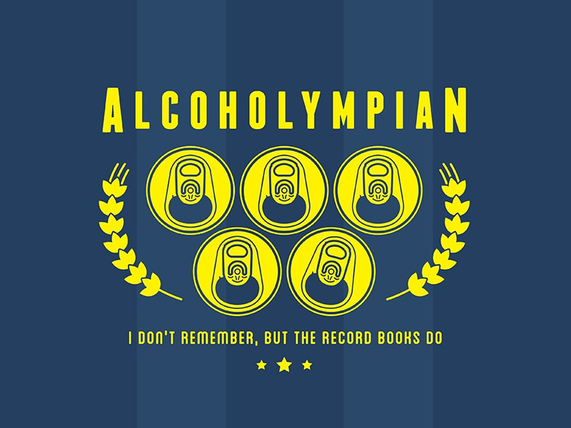 Alcoholympian can six pack blackout drunk medal competition sports barley aluminum can beer olympics alcohol
