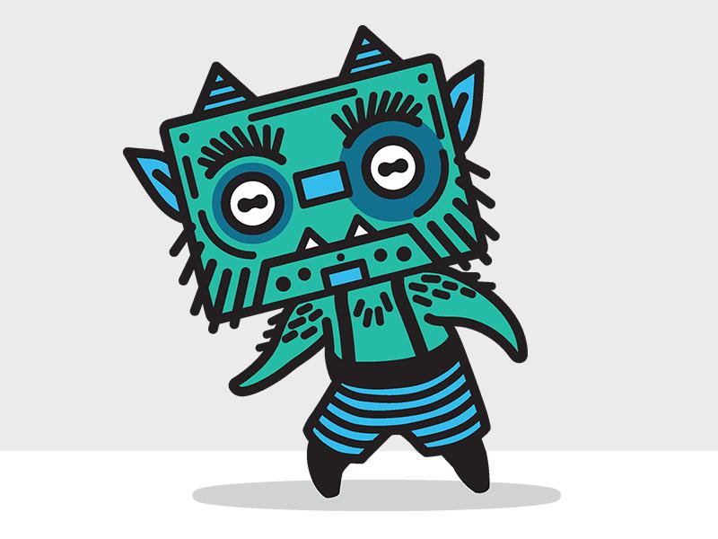 Willem Wallettes demon goblin gremlin cartoon wallet troll cassette tape