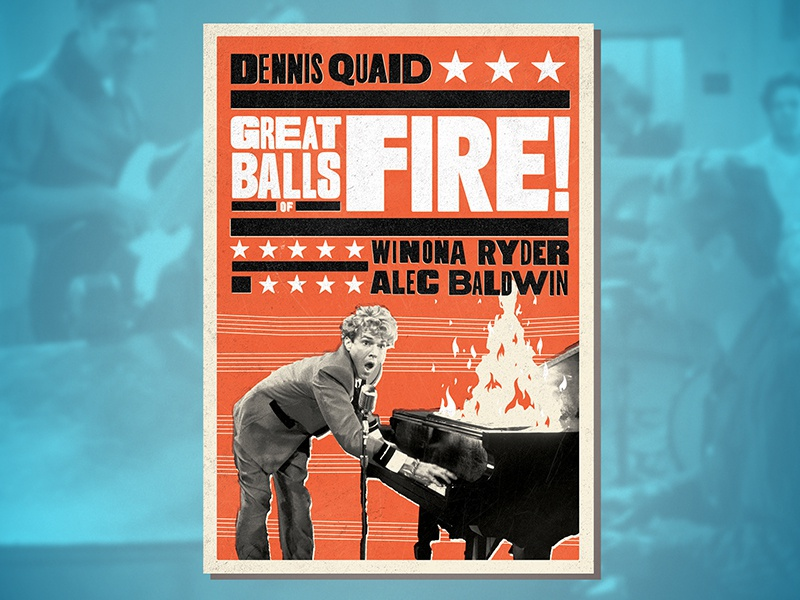 Great Balls of Fire! (1989) piano rock rock and roll rockabilly alec baldwin winona ryder dennis quaid jerry lee lewis gig poster letterpress woodtype