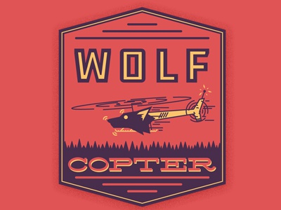 Wolf Copter emblem logo shield badge design type typography vector park ranger helicopter wolf comedy podcast earwolf who charted kulap vilaysack howard kremer