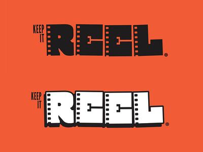 Keep It Reel WIP custom typography analog movie projector celluloid film reel