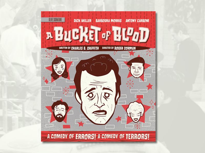 A Bucket of Blood (1959) b movie custom type comedy horror murder beatnik 50s cartooning midcentury modern