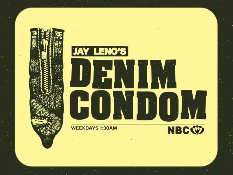 Jay Leno's Denim Condom smut sleaze 70s tv guide television retro zipper denim twitter