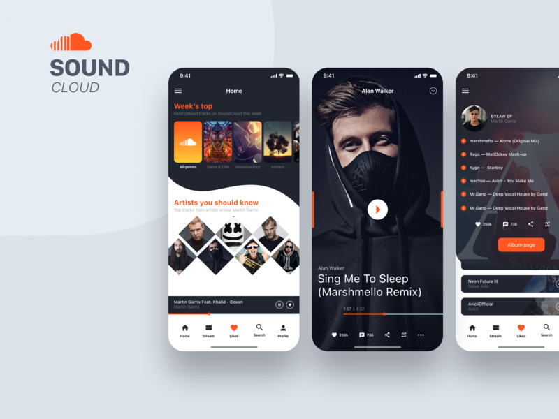 SoundCloud iPhone X concept application app design music player soundcloud music app music iphone 10 mobile app mobile iphone x app clean