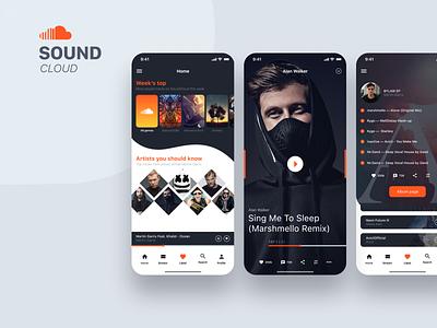SoundCloud iPhone X concept application app design music player soundcloud music app music iphone 10 mobile app mobile iphone x app clean