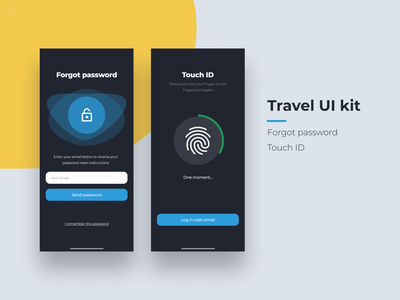 Travel app UI kit app ui mobile touch id design inspiration mobile app forgot password touchid ui kit uikit travel clean