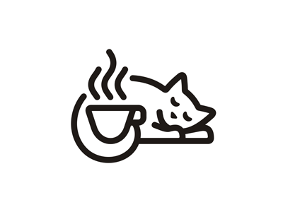 White Cat Cafe Logo outline animal pet espresso vector linear line cappuccino emblem kitten tea cup coffee food cafeteria restaurant logo white cat cafe