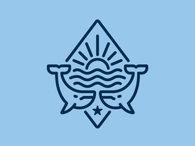 Two Whales Logo wildlife whale waves surfing seafood sea sailing ocean marine mammal logo linear humpback harbor fish emblem diving depth cachalot blue