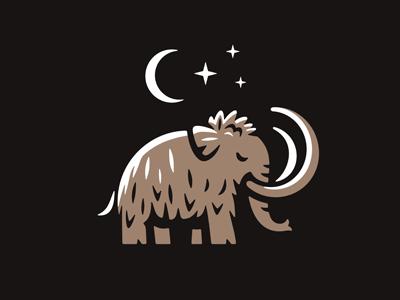 Mammoth Logo сrescent moon night prehistoric mascot nature fur hairy woolen wildlife animal mammal emblem beast wild logo elephant trunk tusk mammoth