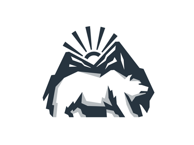 Bear Mountain Logo vector silhouette stone mascot wildlife emblem dawn logo animal predator taiga wild island beast canyon landscape nature rocks bear mountain