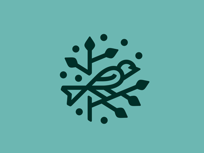 Bird Logo mint outline icon ecology medicine health geometric sign landscape linear emblem logo line berries nature leaves tree birdie branch bird