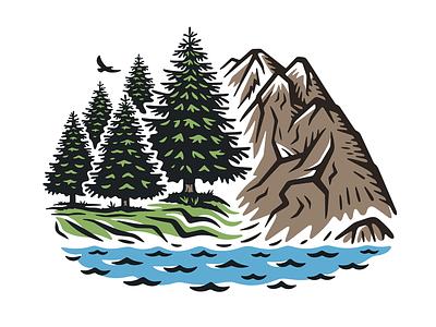 Vector illustration of a landscape travel tourism island siberia alaska ural alps drawing sketch park lake eagle wildlife vector taiga mountain nature forest illustration landscape