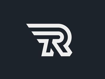 R Logo r speed running motorsport race aviation airline racing auto sport rally route flight technology minimal logo wing letter electronics robotics