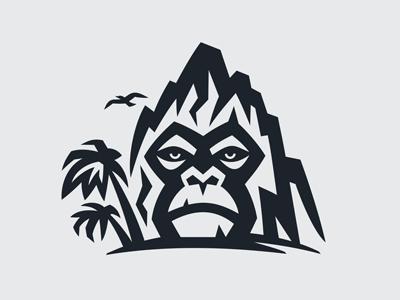 Gorilla Land Logo travel adventure tattoo park stone african jungle fauna animal king nature head wildlife monkey logo rock island mountain land gorilla