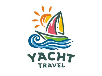 Yacht logo template tourism adventure sailboat boat sailing cruise wave ocean sail sea travel yacht